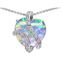 Original Star K (tm) Large 15mm Heart Shape Created Opal Love Pendant in 925 Sterling Silver