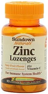 Sundown Naturals Zinc Lozenges Plus Vitamin C & Echinacea, Fruit Flavor, 50 Lozenges (Pack of 4)