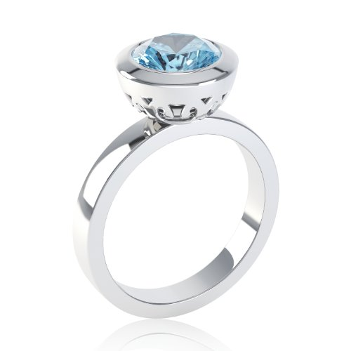 Jian 10mm Blue Topaz Silver Bezel Set Round Stacking Ring K