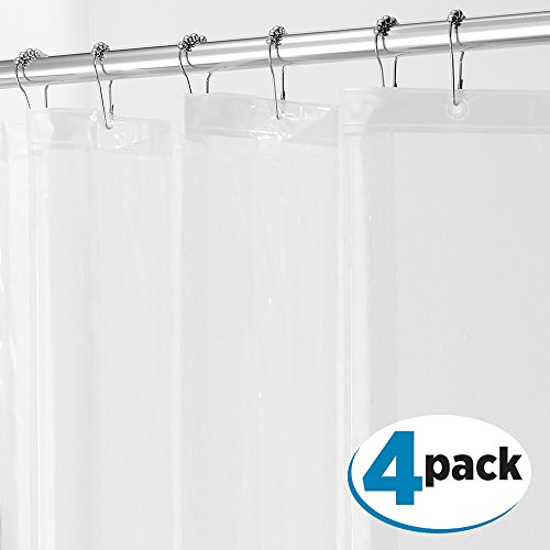 mDesign PEVA 3G Shower Curtain Liner (PACK of 4), PVC-FREE, MOLD & MILDEW Resistant, ODORLESS - No Chemical Smell, 72