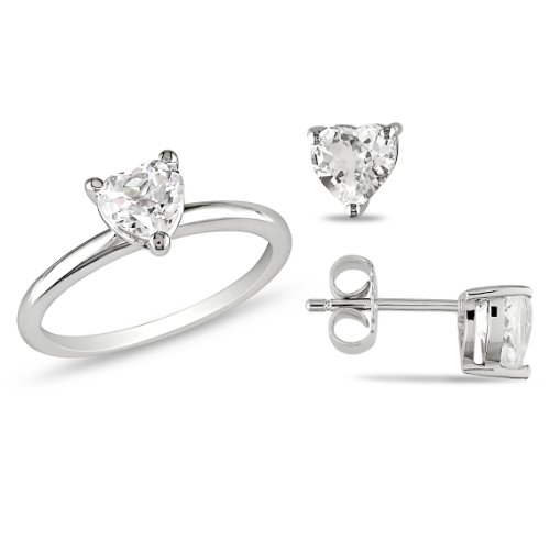 Sterling Silver 3 CT TGW Heart White Topaz Ring and Earring Set