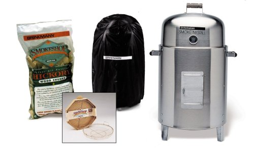 Brinkmann 810-5305-7 Smoke'N Grill Charcoal Smoker and Grill Value Pack, Stainless Steel