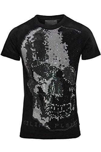 """Philipp Plein """"Black Pilot"""" Schwarz T-Shirt Shirt Designer Shirt Bedruckt Für Herren und Männer Slim Fit Slim Fit Rundhals mit Print und Applikationen (M) thumbnail"""