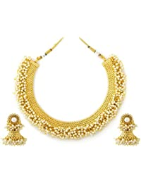 Jewels Gold Traditional Attractive Studded Pearls Tribal Antique Necklace With Earring Set For Women & Girls