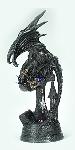"Dragon Figurine Statue Black LED with Hanging Crystal and Medieval Base 12"" Tall"