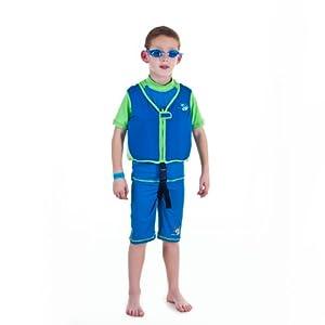 Boys blue/green swim vest Learn-to-Swim Jacket size Large kids age 6-7.5 years old