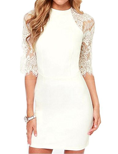 Mantos Eternity Women's Half Sleeves Crew-neck Slim Lace Clubwear Cocktail Dress White 10