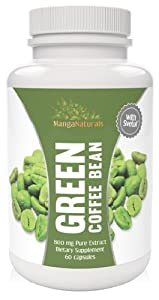 Pure Green Coffee Bean Extract with Pure Svetol Coffee Beans Dietary Supplement and 50% Chlorogenic Acids As Seen on Dr. Oz, Formulated Especially for Launching Your Green Coffee Bean Diet - Premium Quality - Fully Guaranteed By Manga Naturals
