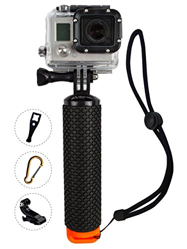 ProFloat Waterproof Floating Hand Grip compatible with all GoPro Cameras Hero 4 Session Black Silver Hero 2 3 3+ 4. Handler & Handle Mount Accessories Kit & Water Sport Pole for Action Camera (Orange) (Shot Ski Bracket compare prices)