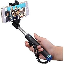 Mpow iSnap Pro X - Palo extensible bluetooth portátil antideslizante universal para selfie con disparador integrado y correa, color azul