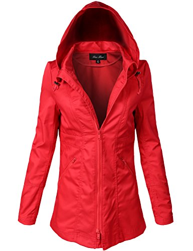 Water Resistant Back Waist Cinched Utiliy Jackets, 138-red, Small