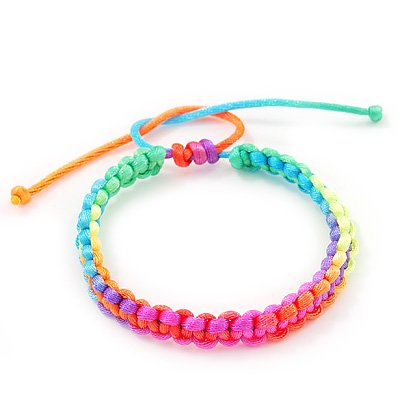 Plaited Neon Multicoloured Silk Cord With Silver Tone Bead Friendship Bracelet - Adjustable