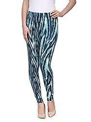 Aspasia Green & White Printed Track Pant (X-Large)