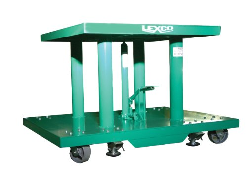 """Wesco Industrial Products 492210 Steel Foot Operated/Electric Hydraulic Lift Table, 2000 Pound Capacity, 48"""" Length X 30"""" Width Tabletop, 48"""" Height"""