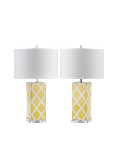 Safavieh Set of 2 Garden Lattice Table Lamps, Yellow