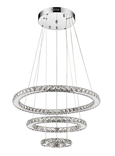 CLAXY® Modern LED Kristall 3-Ring Φ20*40*60cm 44W Zyklische Kronleuchter Hängeleuchte Deckenleuchte Pendellampe