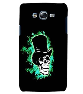 PrintDhaba Skull with Hat D-1199 Back Case Cover for SAMSUNG GALAXY J7 (Multi-Coloured)