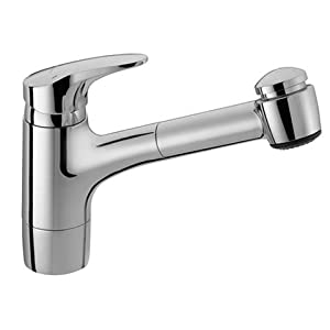 Hansamix One Handle Single Hole Kitchen Faucet with Pull Out Spray Finish: Chrome
