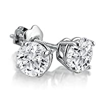 IGI Certified 14K White Gold Round Diamond Stud Earrings (1cttw ) with Screw Backs from Amanda Rose Collection