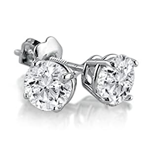 IGI Certified 1ct tw Round Diamond Stud Earrings in 14K White Gold with Screw-Backs