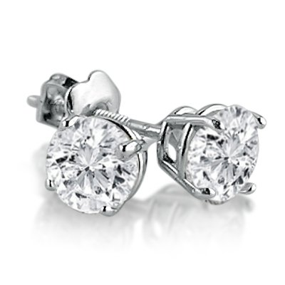 IGI Certified 14K White Gold Round Diamond Stud