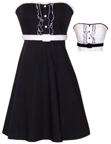 50's Rockabilly Tux Ruffle Sundress Dress JR Plus Size