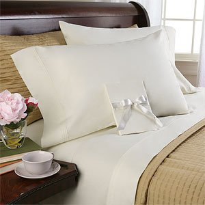 Solid Ivory 600 Thread Count Queen Attached Waterbed Sheet Set 100% Egyptian Cotton By Sheetsnthings front-1040847