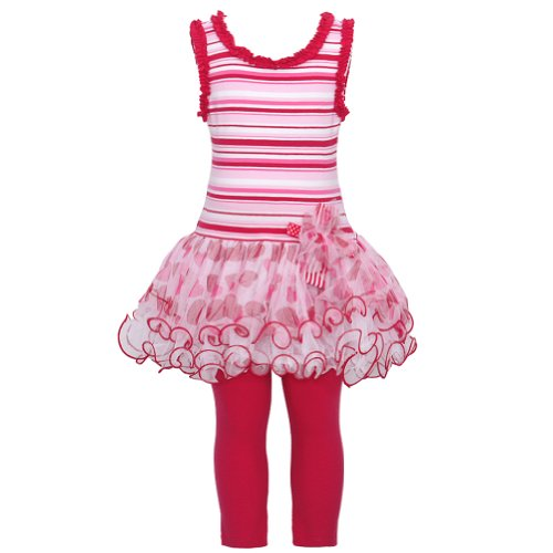 Bonnie Jean Girls Stripe Valentine Dress Outfit W/ Leggings, Red, 2T front-981077