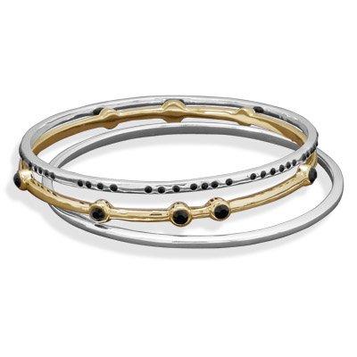 Triple Plated Brass Bangle Bracelet Set