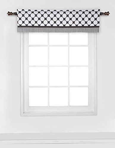 Bacati - Dots/pin Stripes Black/white Window Valance
