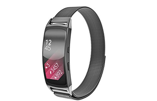 Samsung Gear Fit 2 Watch Band, Elobeth Milanese Magnetic Loop Stainless Steel Watch Strap + Connector Metal Adapter for Samsung Gear Fit2 Band Black 6.7