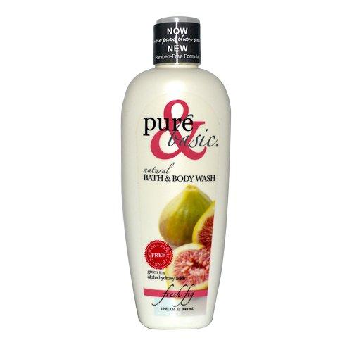 Pure and Basic Natural Bath and Body Wash, Fresh Fig, 12 Fluid Ounce Basic Natural Bath