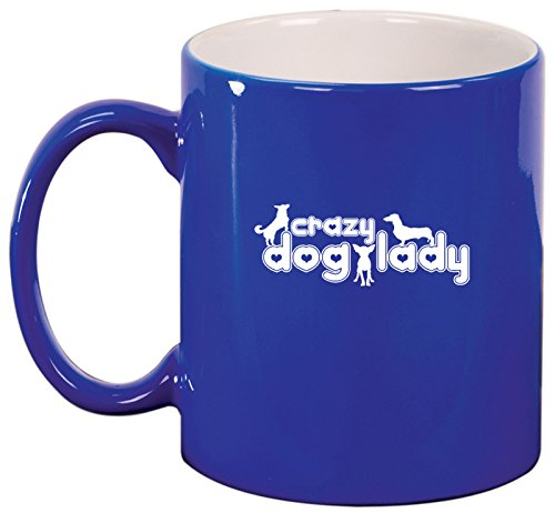 Ceramic Coffee Tea Mug Crazy Dog Lady (Blue)