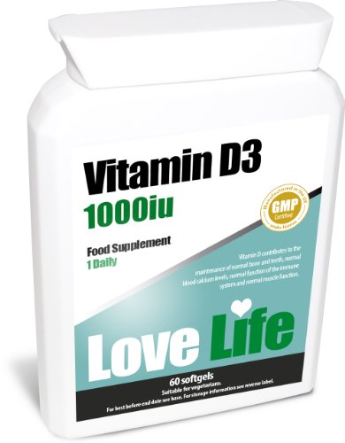 Love Life Vitamin D3 | Helps With The Maintenance Of Normal Bone And Teeth, Absorption And Utilisation Of Calcium And Phosphorus, Maintenance Of Normal Blood Calcium Concentrations, Normal Cell Division, Normal Function Of The Immune System And Maintenanc