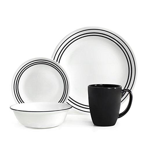 Corelle Livingware 16 piece Dinnerware Set, Service for 4, Onyx Black
