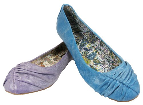 Ladies Lilac Purple/Blue Slip On Ballerinas Flats Womens Holiday Dolly Shoes