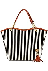 niceeshop Fashion Stripe Single Shoulder Canvas Bag Women Handbag