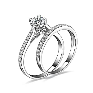 Jewelrypalace Women's 1ct Cubic Zirconia CZ Solid Wedding Band Anniversary Engagement Ring Set 925 Sterling Silver Size 8