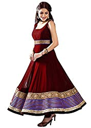 Stutti Fashion Designer Red Color Embroidery Semi-stitched Salwar Suit Dress Material