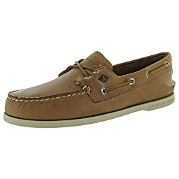 Sperry Top-Sider Men\'s A/O 2 Eye Cross Lace Boat Shoe, Tan 2, 10.5 M US