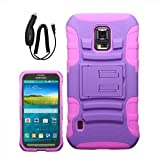 SAMSUNG GALAXY S5 ACTIVE PURPLE PINK ADVANCED ARMOR DISPLAY STAND HYBRID COVER HARD GEL PROTECTOR CASE + CAR CHARGER from Preferred Fashion Network