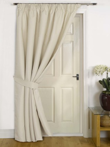 Everest Cream Thermal DOOR Curtain With Tieback- Extra Wide Width 79