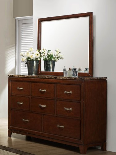 Bleeker Dresser & Mirror By Homelegance In Brown Cherry front-374363