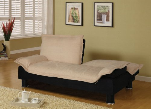 Futon Sofa Bed in Beige Microfiber