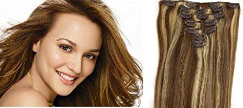RemyHair Clip-In-Extensions fur komplette Haarverlangerung hochwertiges Remy-Echthaar 38CM 16clips 70g#6613 mischen