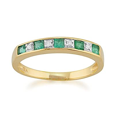 Yellow 9ct Gold 0.29ct Natural Emerald & Diamond Half Eternity Ring
