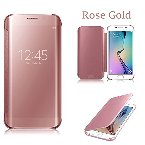Connect Zone® Rose Gold Luxury Mirror Smart Clear View Flip Hard Back Case For Samsung Galaxy S7 (SM-G930)