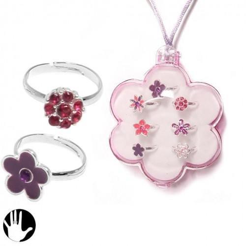 Sg Paris Fashion Jewellery Ring Adjustable Set of 7 rings Children's Metal Pink Flower