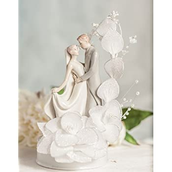 Dancing Bride and Groom Vintage Glitter Flower Wedding Cake Topper: Flower Arch Color: Ivory