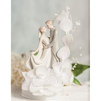 Dancing Bride and Groom Vintage Glitter Flower Wedding Cake Topper: Flower Arch Color: Ivory